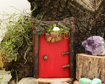 Red Fairy Door, Natural, Handmade, Eco-Friendly, Gifts for Everyone, Gifts for Gardeners, Gifts for Mom, Gifts for Fairy Lovers