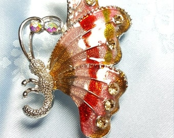 ON SALE Enamel Butterfly Brooch Pin with Rhinestones