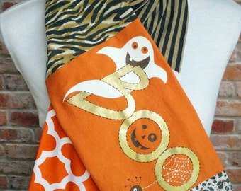 Halloween Scarf - Halloween Outfit - Costume Alternate - Upcycled T Shirt Scarf - Halloween Costume Alternative - Ghost T-Shirt Scarf