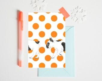 "Postcard ""BULLDOG IMBROGLIO"" 10 x 15 cm - Illustration for children's bedroom - design handpainted - graphic Poster"