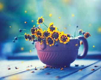 8x10'' Beautiful yellow flowers falling petals photography art print