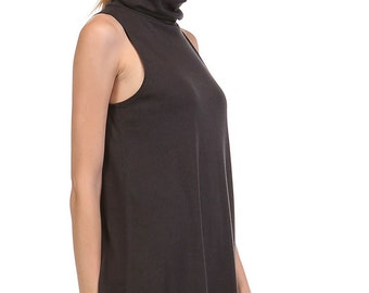 T5143B Sleeveless turtle neck long tunic top