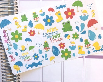 April Showers Bring May Flowers! set of 50+ stickers for your Erin Condren, Happy Planner, Inkwell Press, Kikki K, or other planner!