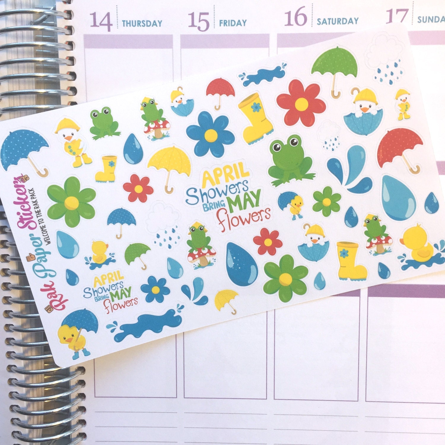 April Showers Bring May Flowers set of 50 stickers for your