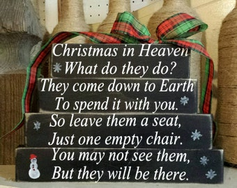 Christmas in Heaven, Christmas in Heaven Blocks, Christmas in Heaven with Chair, Christmas in Heaven, Christmas Gifts, Sympathy Gifts, Gifts