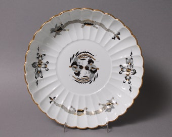 "Meissen Crossed Swords Dragon Black Cake Platter 8.46"" in Diameter"