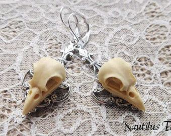 Bird Skull Vintage earrings, Bird skull earrings, Gothic earrings, Vintage earrings, Steampunk earrings