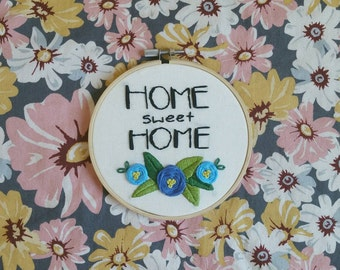 Home Sweet Home Embroidery Wall Hanging Needlepoint Art