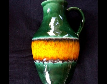 Lava vase 1738/26 deep green with shiny orange and yellow from the sixties, modest dripping lava