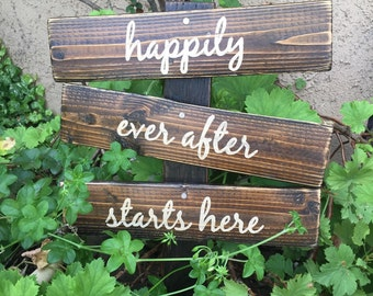 Happily Ever After Starts Here, wedding wood signs, wood sign, hand painted wood sign, custom wood sign, ceremony sign,  rustic wood sign