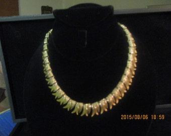 Gold tone Francois choker with pave rhinestones