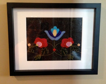 Framed Floral Beadwork