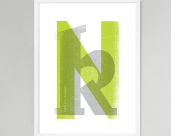 Initial Over Print Personalized Baby/Kids Art (Green, Medium)