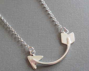 Handmade curved arrow Sterling silver pendant