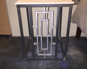 Mid century modern steel and stone nightstand