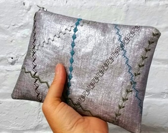 Silver oilcloth pouch with olive, turquoise and brown decorative stitching / crazy quilt stitched pouch / embroidered pouch