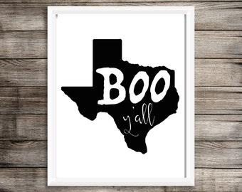 Boo Y'all Texas Halloween Printable Wall Art 8x10 BLACK & WHITE