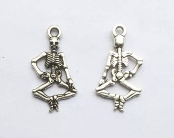 15pcs Tibetan Silver Dancing Skeleton Charms 25mm by 14mm Findings Jewelry Making Supplies Charm (ID CH-27)