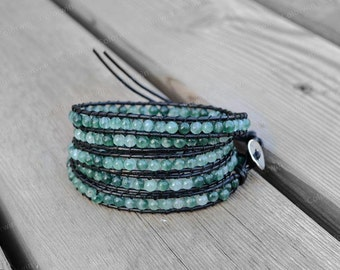 Leather Bracelet Mediterranean Green Wrap Bracelet Jade Beads Leather Wrap Bracelet 4mm Beaded Bracelet Wedding Jeweley Perfect Gift