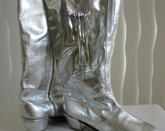 Flamenco silver leather boots spanish campero style cowboy. Size 10. Lightly used. Hand crafted Miami 1985