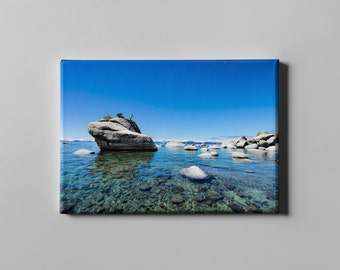 Bonsai Rock Lake Tahoe, Canvas Print, Landscape Photography, Modern Large Art, Nature Photography, Fine Art Canvas Print, Oversized Art