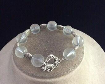 Vintage Chunky Clear Glass Beaded Toggle Bracelet