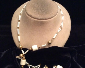 Vintage Long White Beaded Necklace