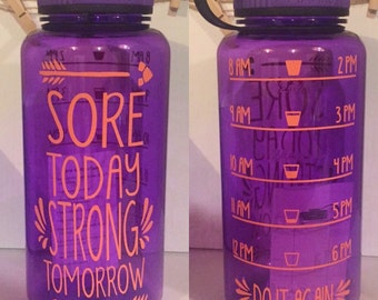 34 oz. Custom Inspirational Water Bottle with tracker *this listing is for a PURPLE bottle*