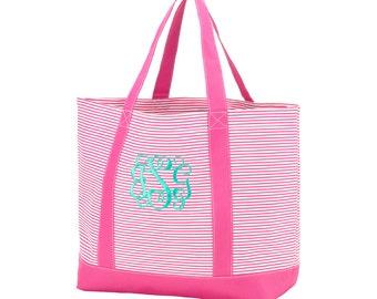 Hot Pink Pinstripe Tote Bag