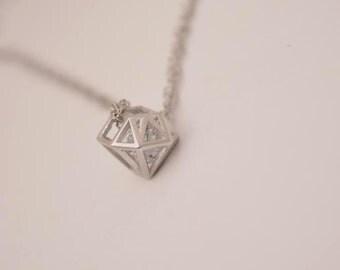 sterling silver diamond shape necklace sterling silver geometric necklace