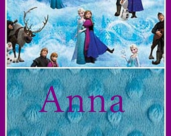 Baby Girl Personalized Blanket~Frozen Disney~Minky and Cotton~Elsa and Anna~Nursery~Crib~Shower Gift~Lovey~