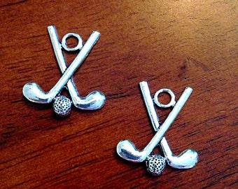 10 Golf Club Charms, Antique Silver Charms, Golfing Charms, Golf Ball Charms, Double Sided Golf Club Charms, Jewelry Supplies, Findings