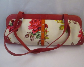 Vintage Paint The Lily Floral Handbag.