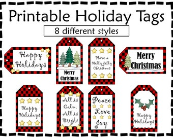 Printable Gift Tags - Holiday Gift Tags - Buffalo Check Tags