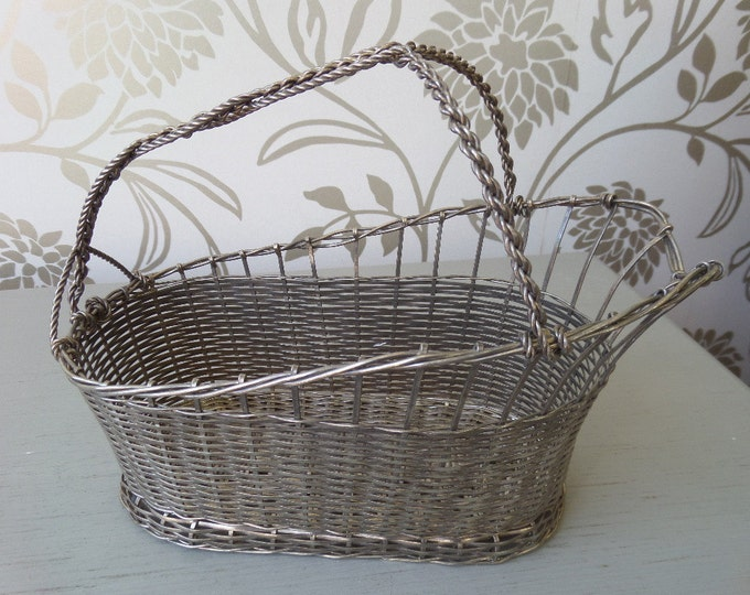 """French Wine Basket, Metal Bottle Holder, Hand Woven Twisted Metal, Traditional French Mid Century, Excellent Condition, 9.25"""" x 4.5"""" x 7"""""""