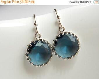 SALE Navy Blue Earrings, Bridesmaid Earrings, Silver Blue Earrings, Wedding Jewelry, Montana Blue, Dangle, Bridesmaid Jewelry, Bridesmaid Gi