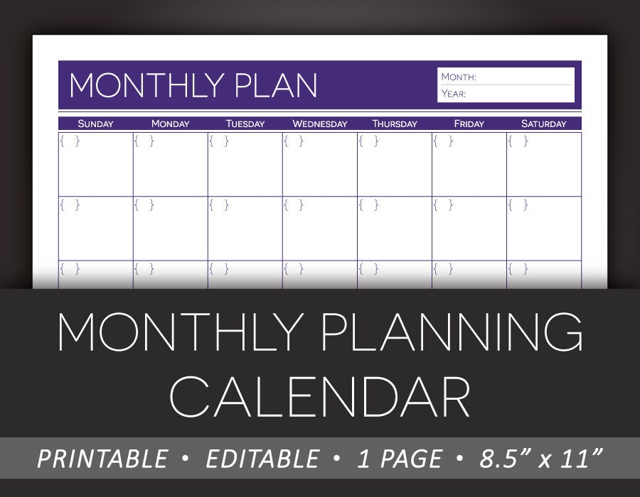 Blank Calendar You Can Type Into : Printable monthly planner editable calendar planning