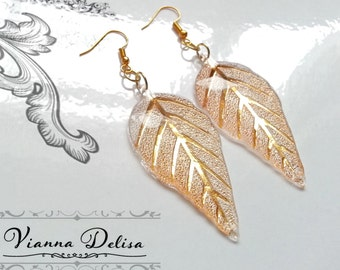 Gold leaf - Leaf Earrings - Acrylic - Resin Leaf Earrings - Gold plated - Earrings