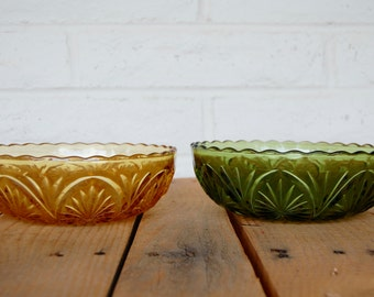 Vintage Olive Green and Mustard Yellow Bowls