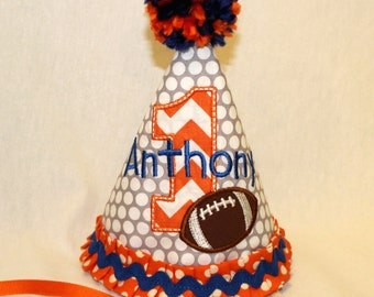 Boy's First Birthday Party Hat  - Orange and Royal Blue with football.  Includes personalization.