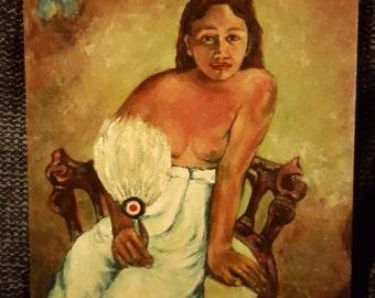 a woman with a fan - oil on board