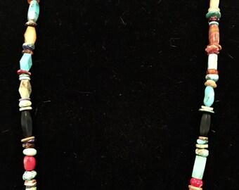 Native American Navajo Turquoise & Heishi Treasure Necklace