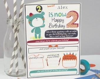 Boy's 2nd birthday Card. Personalised boys birthday card. Tandem Green.  Card to keep.