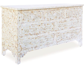 White Mother Of Pearl Inlay Chest Of Drawers, Large