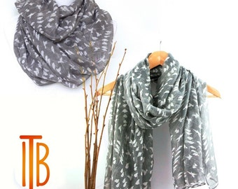 Scarves for Women, Shawls  with Bird Print, Fashion Scarves, White Grey Women's Scarf, Gift For Her, Boho Shawl, Bohemian Accessories