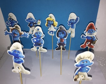 smurfs cupcake topper, smurfs party  decoration, smurfs cupcake, smurfs birthday cupcake toppers, smurfs inspired