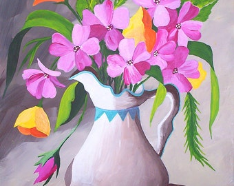 Original Acrylic Painting, Pitcher with Wild Flowers, Still Life Fine Art gifts