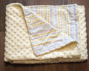 Yellow minky baby/toddler blanket