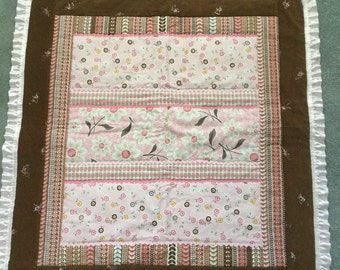 Baby girl or could be a toddler car seat, stroller quilt