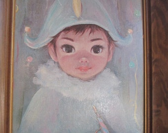 "big eyed framed print of ""Jacques"" by Margaret Keane, jester boy harlequin theatrical costume, lithograph print"